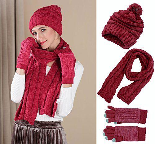 c6053970916 Knit Hat Scarf Gloves Set