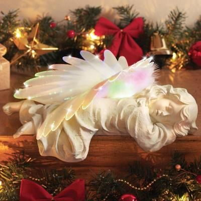 Fiber Optic Sleeping Angel Figurine YARDSELLER Pinterest Fiber - outdoor angel christmas decorations
