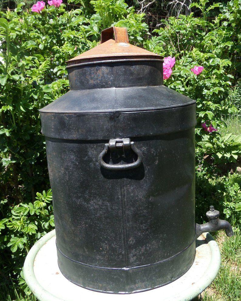 Large Antique Milk Can With Spigot Lid Primitive Rustic Farmhouse Decor Vintage Extra Large Black Dairy Cream Can Porch Planter Antique Milk Can Milk Cans Rustic Farmhouse Decor