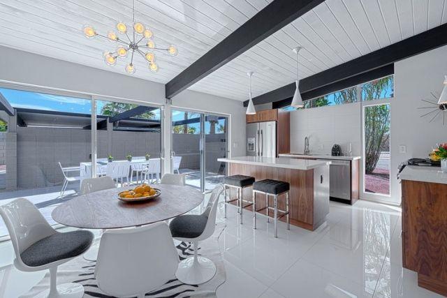 Einrichtungsideen Küche modern Gestaltung Fußboden Glanz-Weiß - esszimmer ideen modern