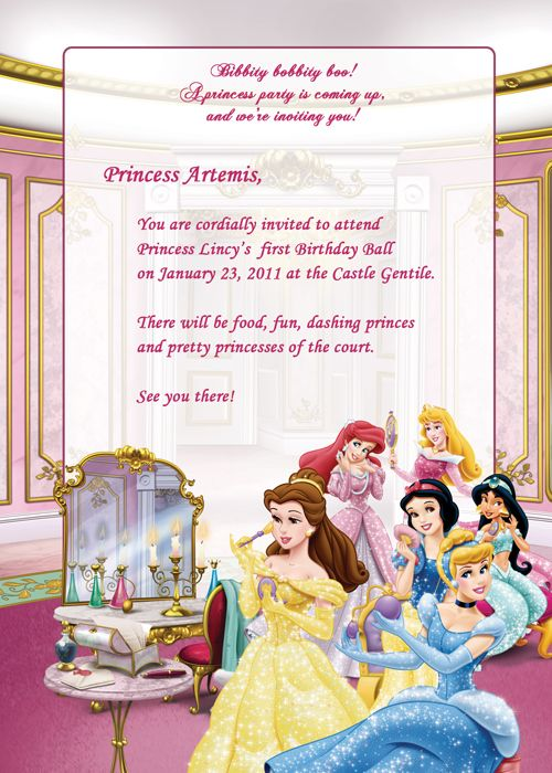 Disney Princesses Birthday Party Invitation - Free Printable - best of invitation template princess