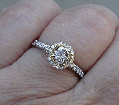 Light Brown Diamond Engagement Ring 2 Tone White and Yellow Gold