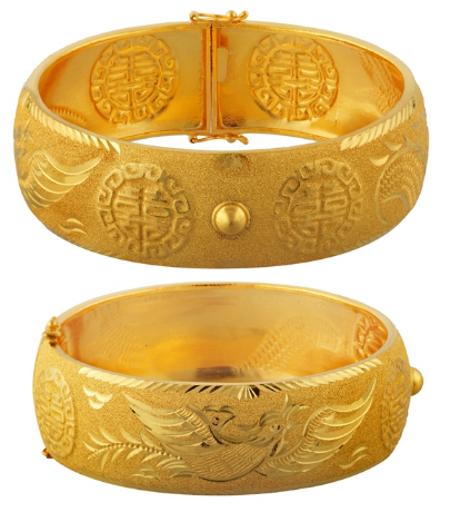 Traditional Chinese Wedding Gold Bangles by Chow Tai Fook
