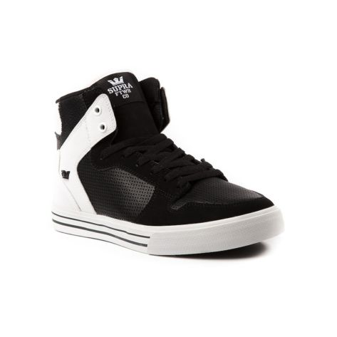 Shop for Mens Supra Vaider High Skate Shoe in Black White at Journeys Shoes. Shop today for the hottest brands in mens shoes and womens shoes at Journeys.com.High top skate shoe from Supra featuring a vulcanized outsole, sliding tongue logo, high memory polyurethane insole, ankle support, leather liner, and SupraFoam midsole that provides entire foot impact resistance and optimal shoe flex.