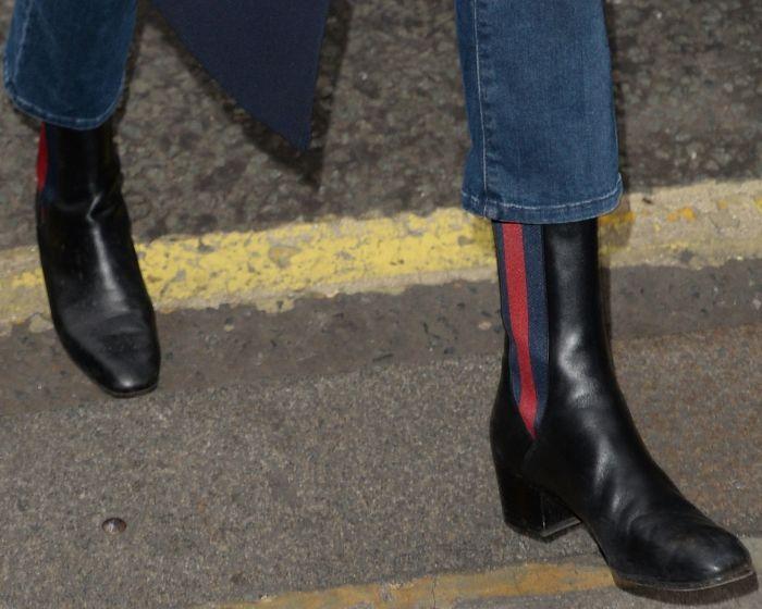 b221517b2 Gemma Arterton arriving at the BBC Radio 2 studios in Gucci