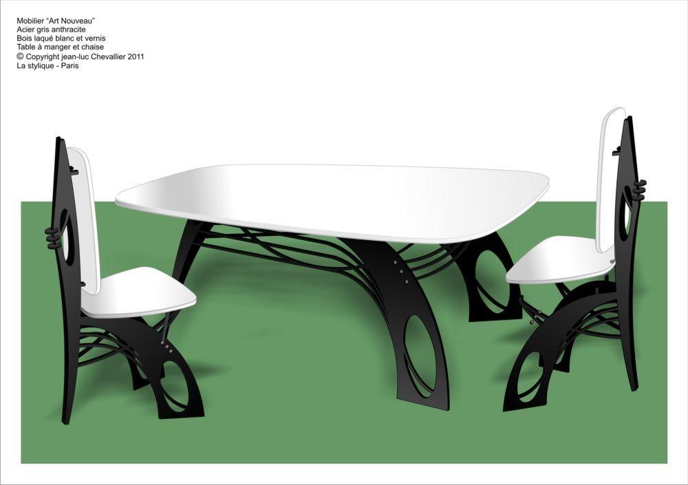 Chaise et Table en bois et Métal de style Art Nouveau