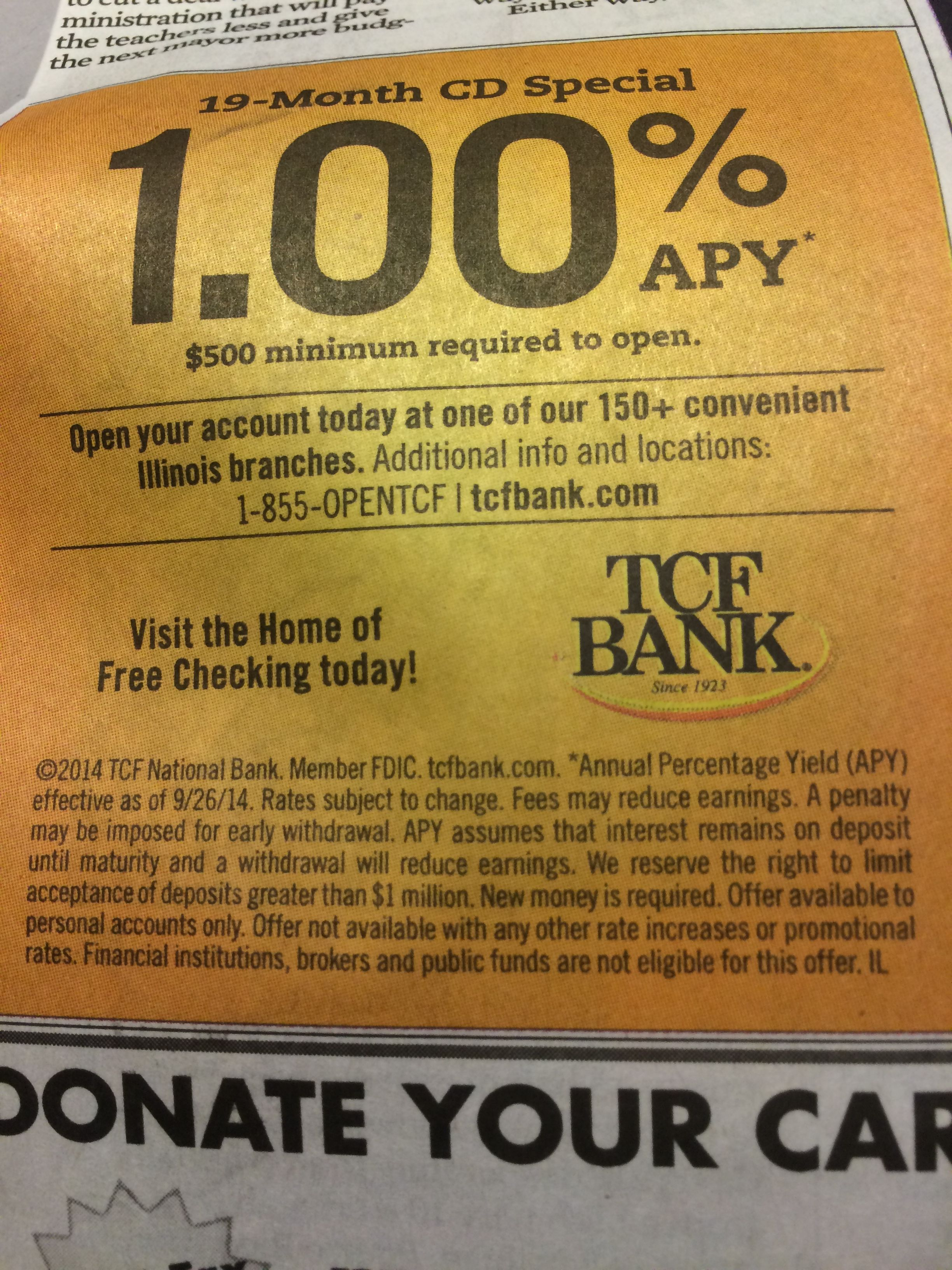 TCF Bank touts 19-month CD w/ 1%APY on new money of $500+ (Chicago ...