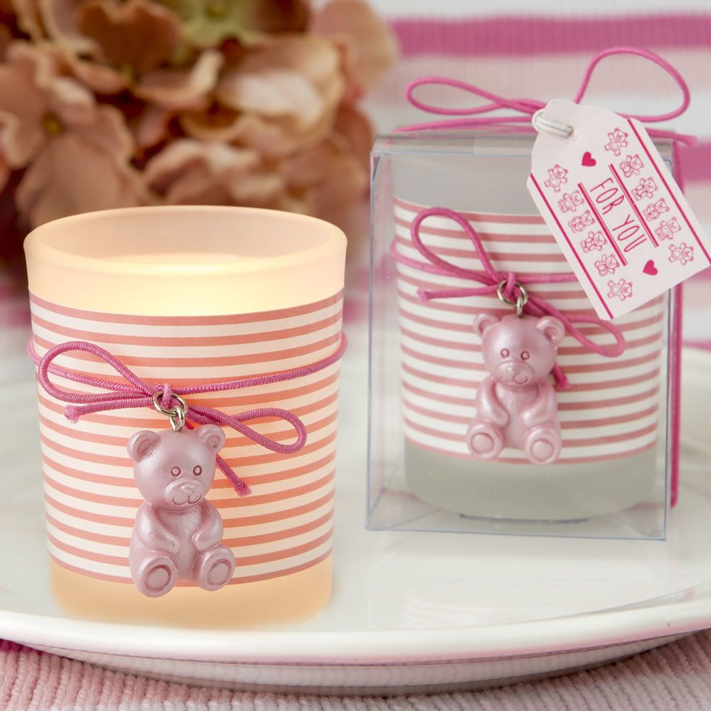 Pink Teddy Bear Frosted Glass Votive | Favours, Shower favors and ...