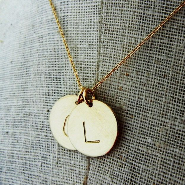 Two letter gold initial necklace charms hand stamped personalized two letter gold initial necklace charms hand stamped personalized custom necklace dot duo aloadofball Images