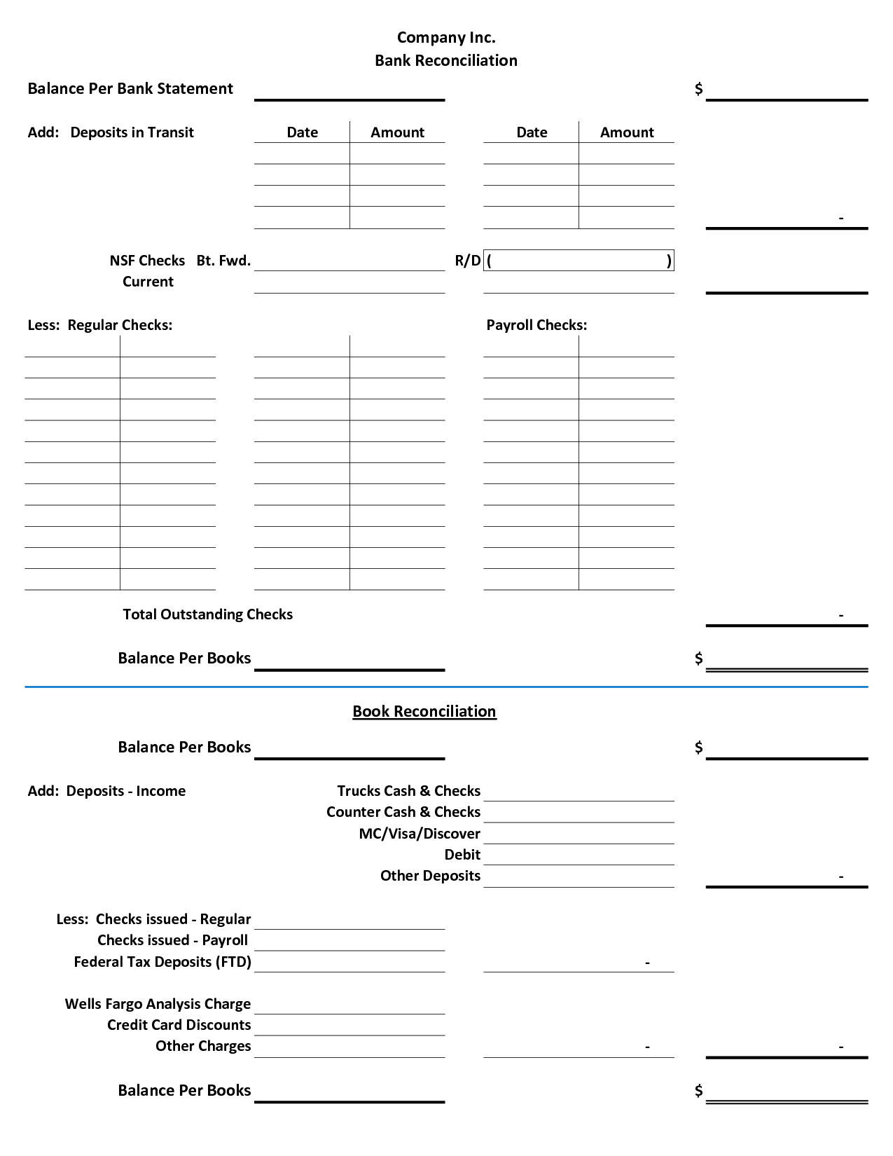 Bank Reconciliation Template Example Masir Account Form Word Free