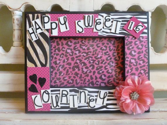 Sweet 16 Personalized 5x7 Picture Frame Hot Pink Black Flowers Bling ...