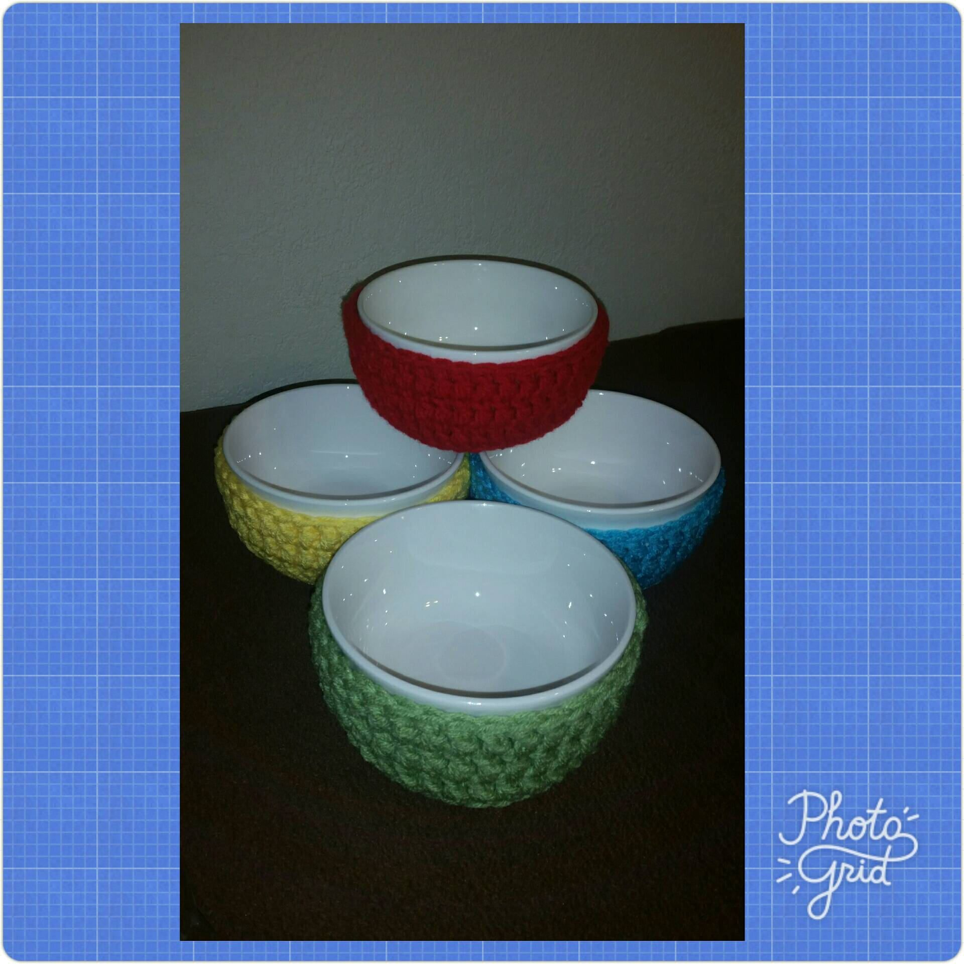 Crochet Bowl Covers Set of 4, Bowl Sleeve Set, Bowl Cozies Set, Bowl Holder Set #crochetbowl