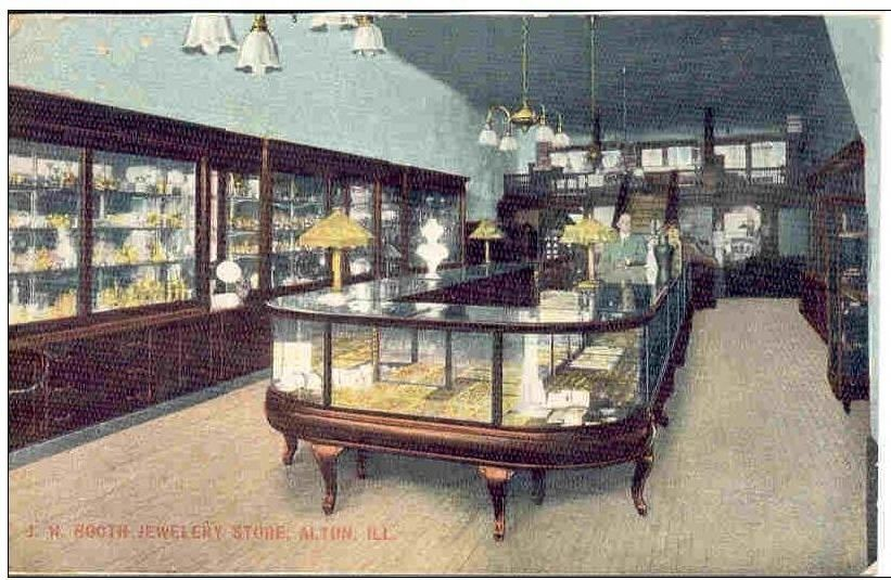 AH120 J H Booth Jewelery Store Diamond Adv Alton Illinois IL Vintage PC |  Collectibles, Postcards