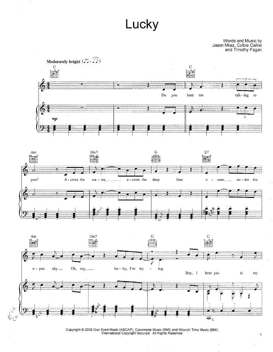 Lucky Jason Mraz Colbie Caillat Piano Sheet Jason Mraz Colbie Caillat Music Songs