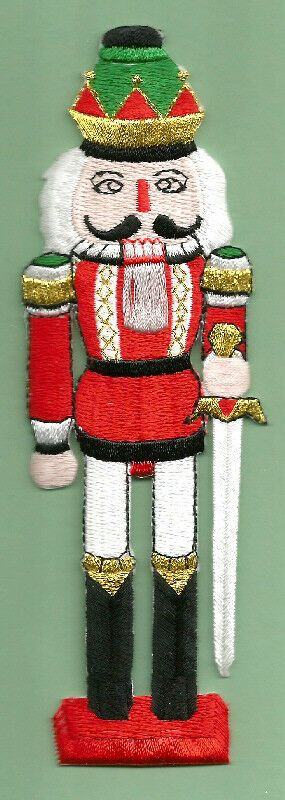 """Christmas Nutcracker Iron On Applique Patch 5.75/""""H Crafts Embroidered"""