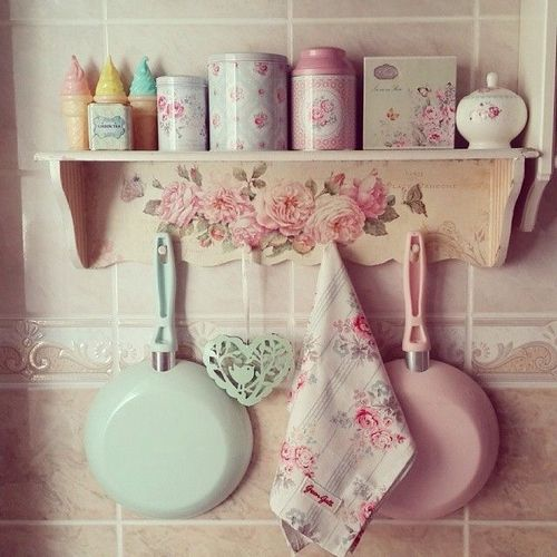 Shelf with rose decoration and used with lovely, cute , pastel collection.