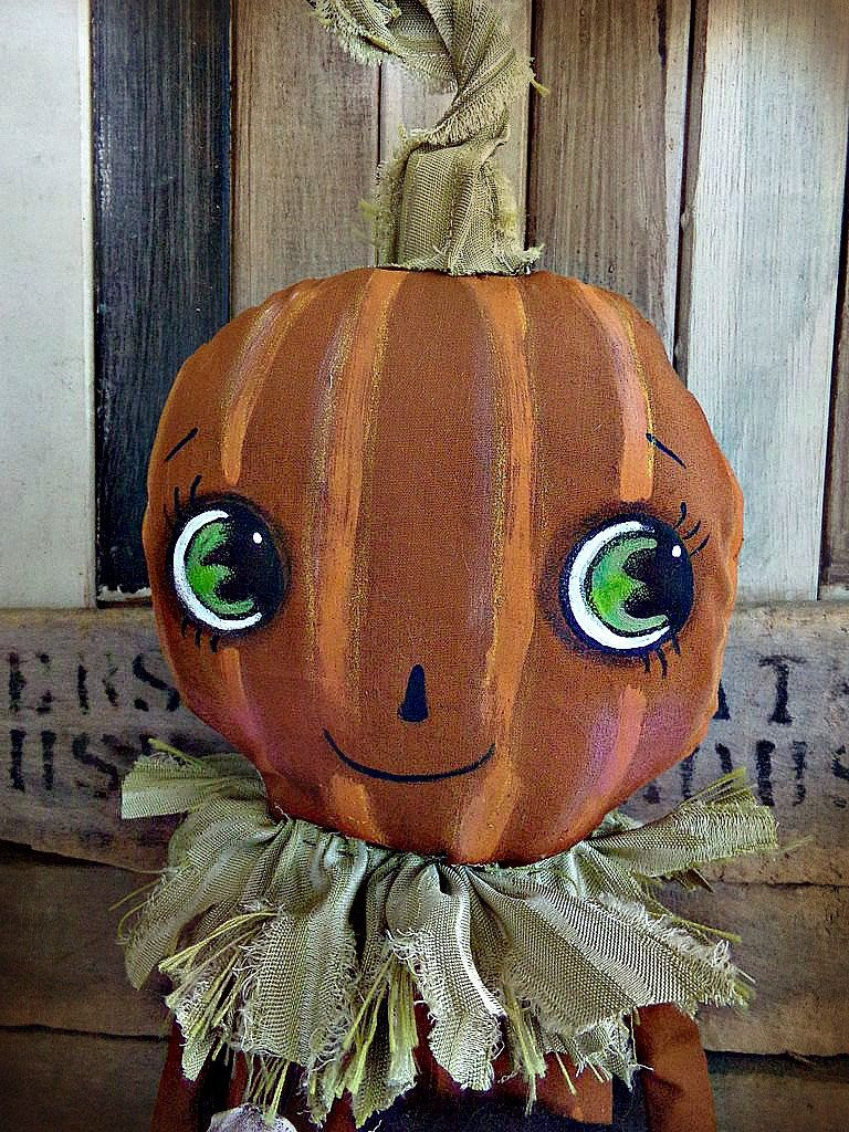 Primitive Pumpkin Doll Halloween Decor Black Cat by harrietstash - Primitive Halloween Decor