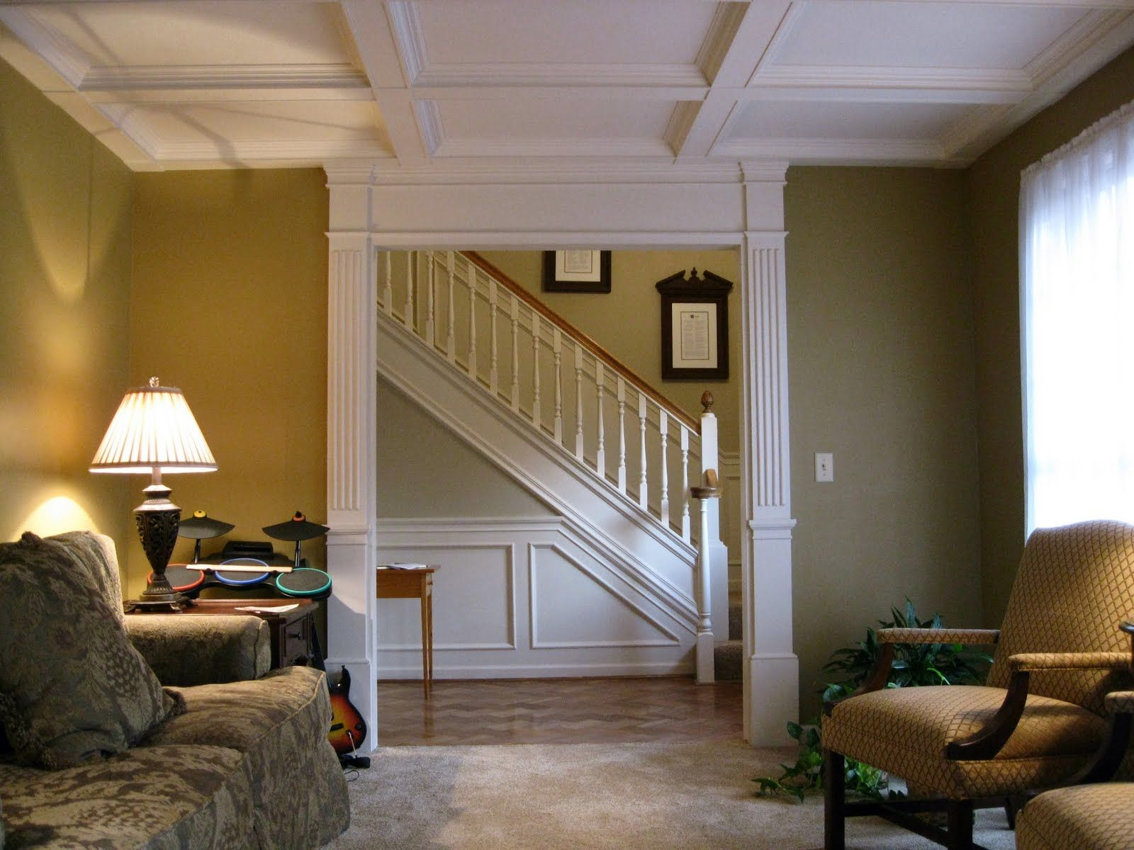 Some Of My Past Home Improvement Projects Coffered Ceiling Columed Doorway Wainscoting
