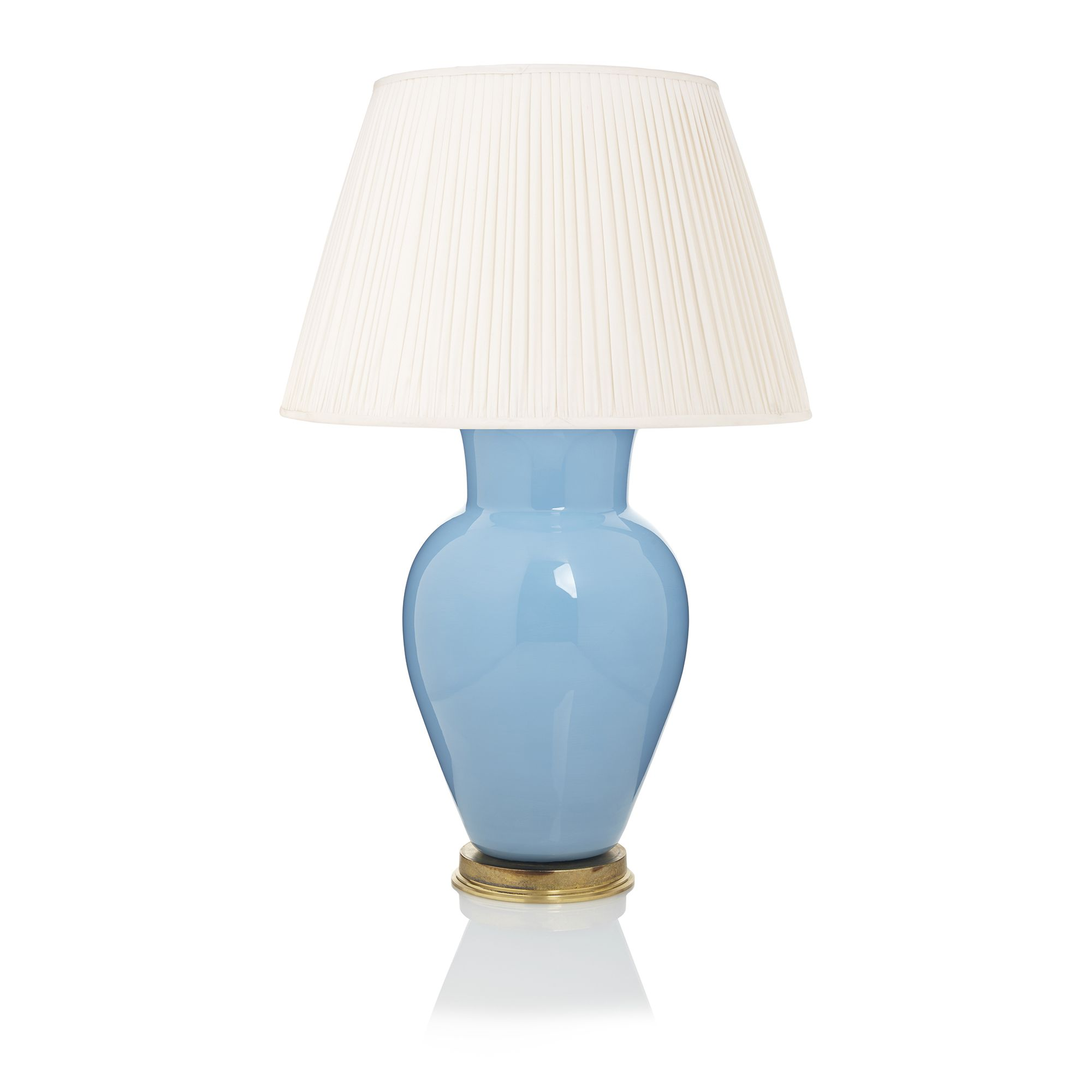 Sky Blue Lamp Base With Ivory Silk Shade The Handmade Designer