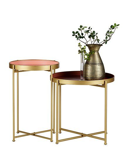 Stylish side table in set of 2 - pink in combination with brass. A ...