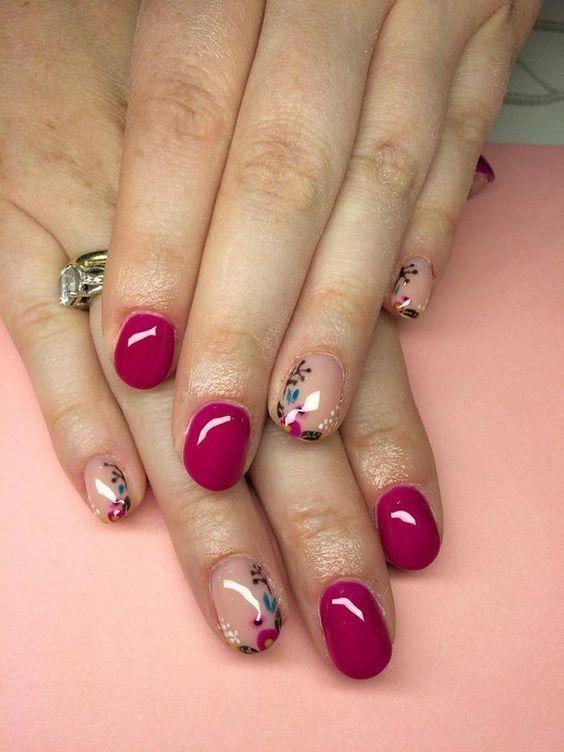 Uñas Cortas Decoradas (1) | Manicura de uñas, Uñas fucsia ...