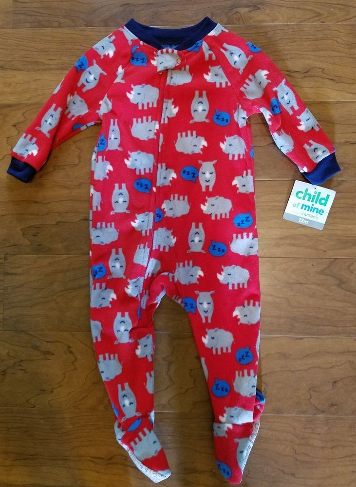 10cfa39b0eb3 New Baby Boy Carters Child Of Mine Rhino Fleece Footed Pajamas Size ...