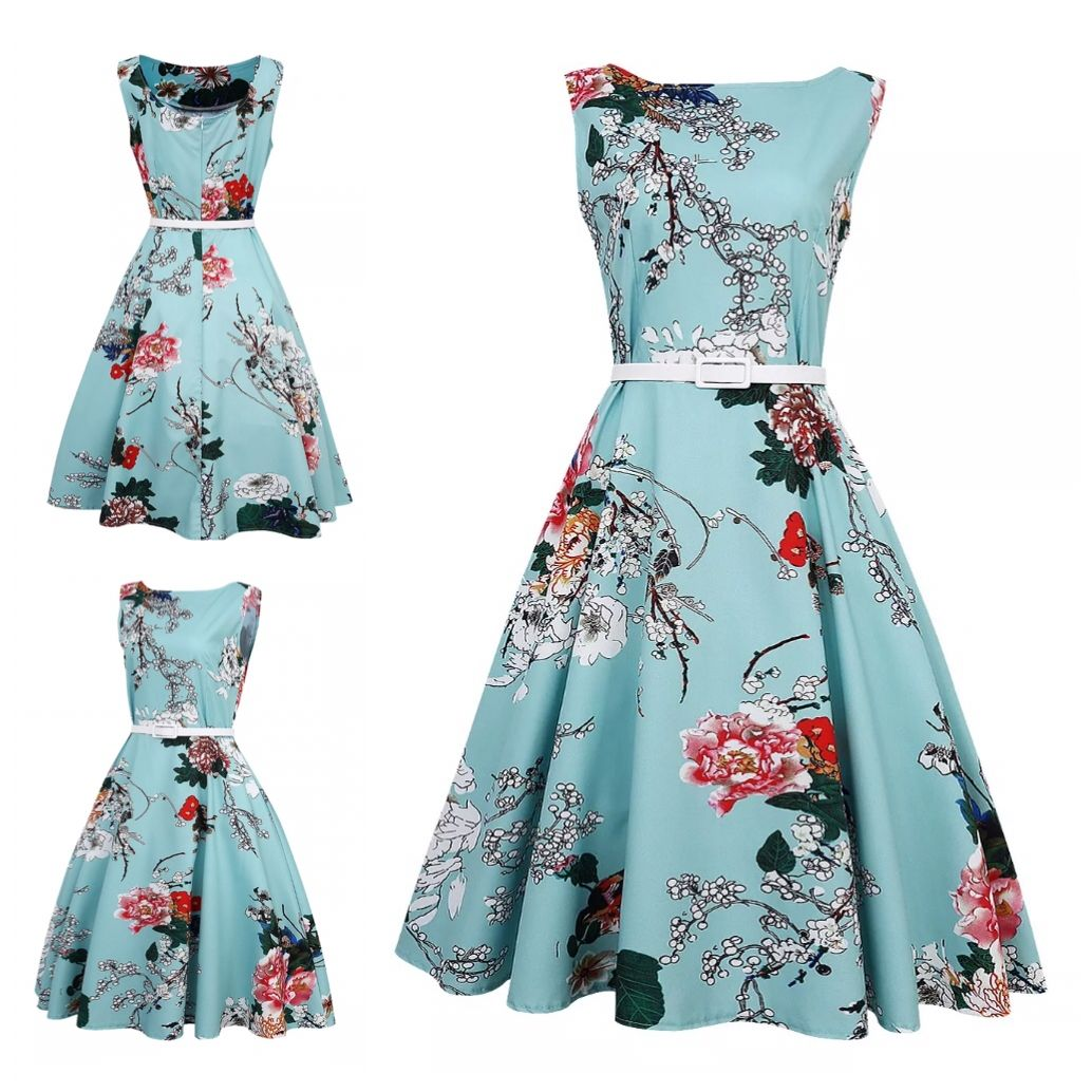 """This is a beautiful little vintage inspired floral swing dress. The color is blue/green with multi colored florals through out.This dress includes a white belt around the waist. The dress has a rounded collar, a zipper in back, is sleeveless, is knee length and made of 100% nylon.    This is a size Large dress, which is equivalent to a US size 10.    It has the following measurements:    Length 40.95""""    Bust 36.27""""    Waist 31.59""""    This item ships immediately! 📦 Also available for…"""