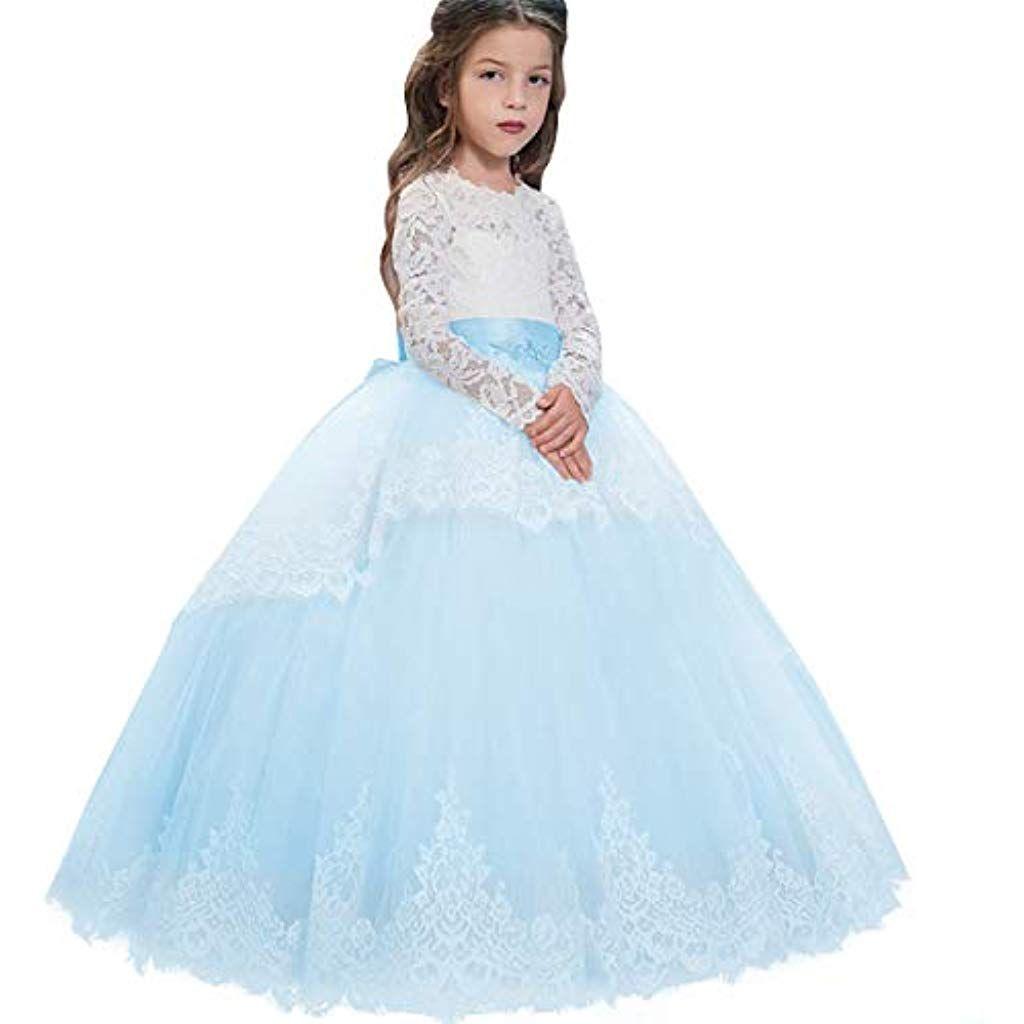 Kinder Tüllkleid Lang Abendkleid Hochzeit Festkleider Blumenmädchen Kleid