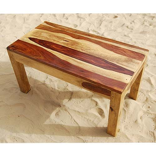 Solid Wood Block Coffee Table: Rustic Solid Indian Rosewood Rectangular Cocktail Coffee