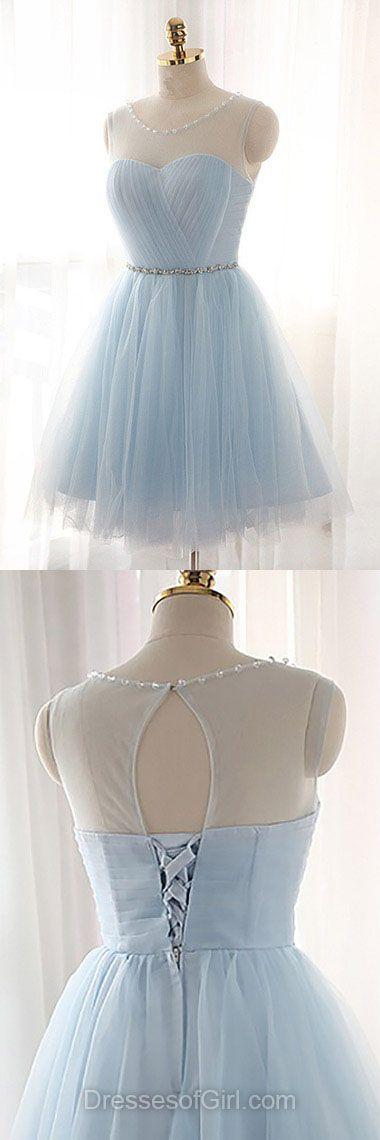 Short Prom Dress, Blue Prom Dresses, Mini Homecoming Dress, Tulle Homecoming Dresses, Scoop Neck Cocktail Dress