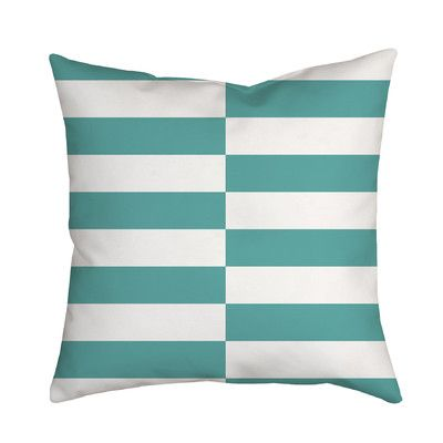 "SafiyaJamila Beachy Stripes Indoor/Outdoor Throw Pillow Size: 18"" H x 18"" W x 2"" D, Color: Blue"