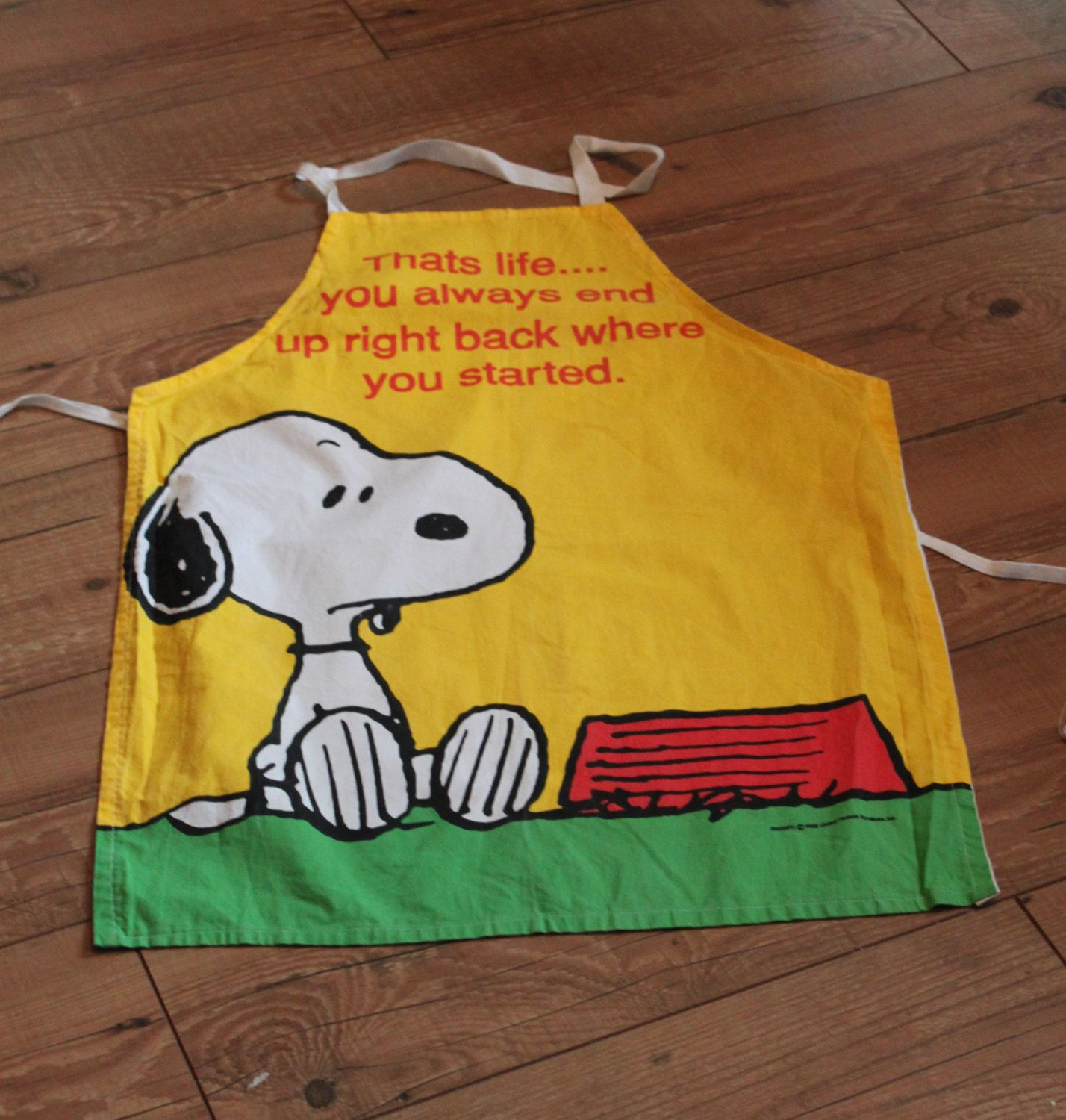 "Snoopy Apron  ""That's life, you always end up right back where you started"" Vintage Cotton Apron  c1970s. by AtticBazaar on Etsy"