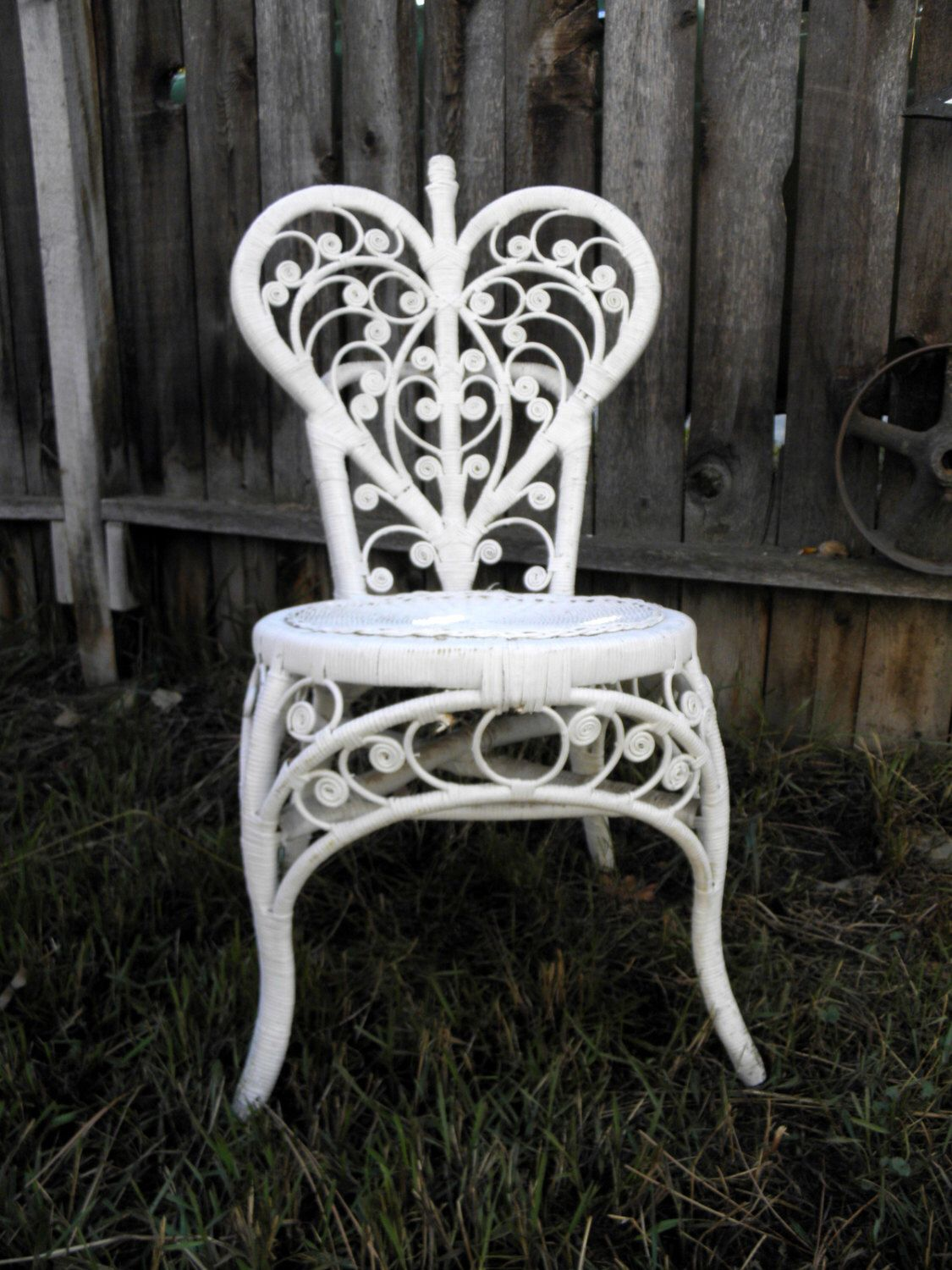 70s Heart Wicker Chair White Rattan Cottage Chic