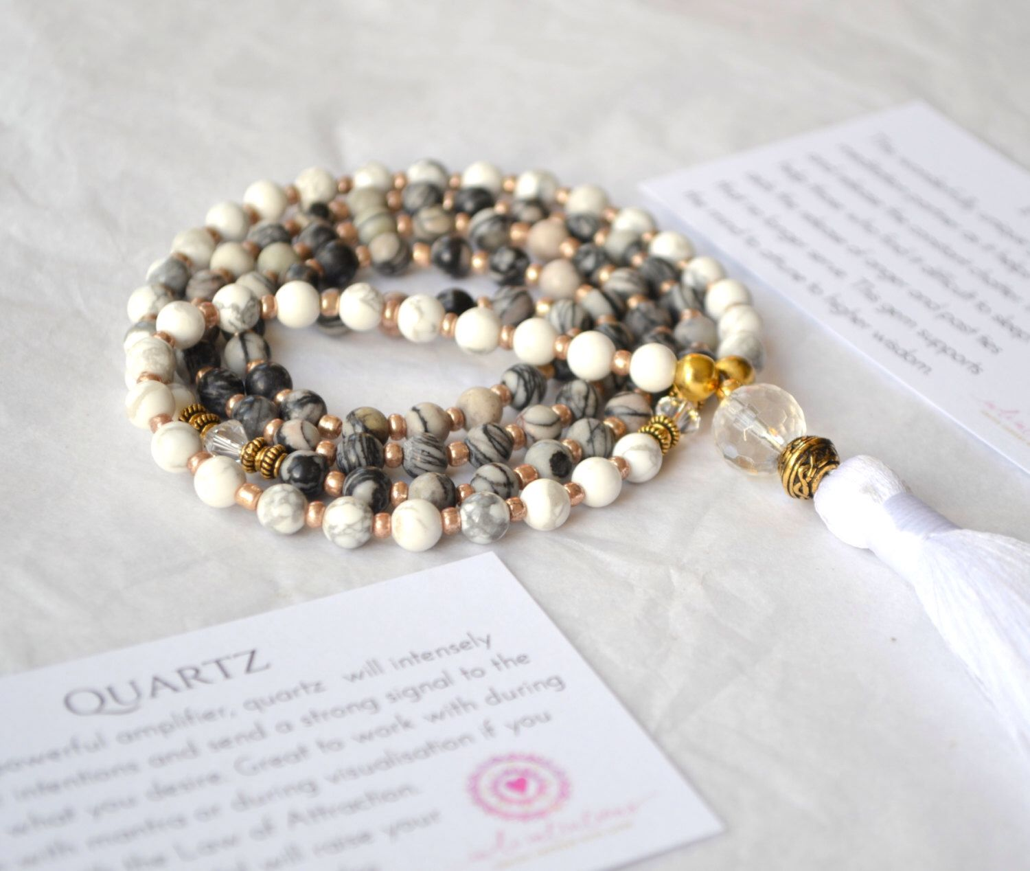 This is so gorgeous!!! Jasper, Howlite and Quartz 108 Mala Beads. Etsy shop https://www.etsy.com/ie/listing/264958399/meditation-beads-mantra-necklace-long