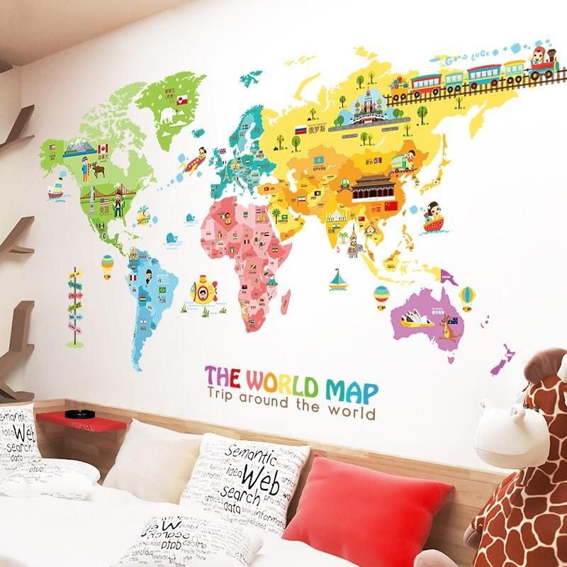 Best Large World Map Wall Decal In 2020 World Map Wall Decal 400 x 300