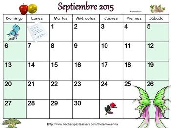 Calendar Days Of The Week In Spanish.A Free September 2015 Calendar In Spanish Calendario Gratis Para