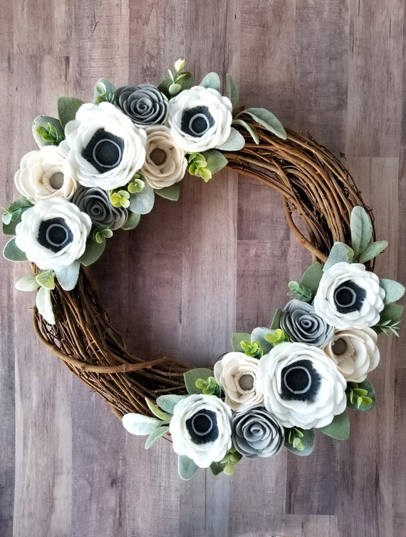 Photo of Spring farmhouse wreath – felt flower wreath – modern wreath – neutral wreath – anemone wreath – farmhouse decor – Easter wreath – wedding