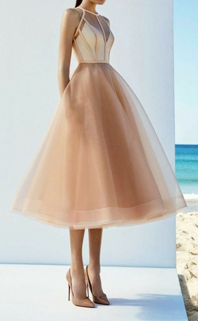 Champagne A-line Long Prom Dress,Tulle Sleeveless Party Dress,Tea Length Homecoming Dress