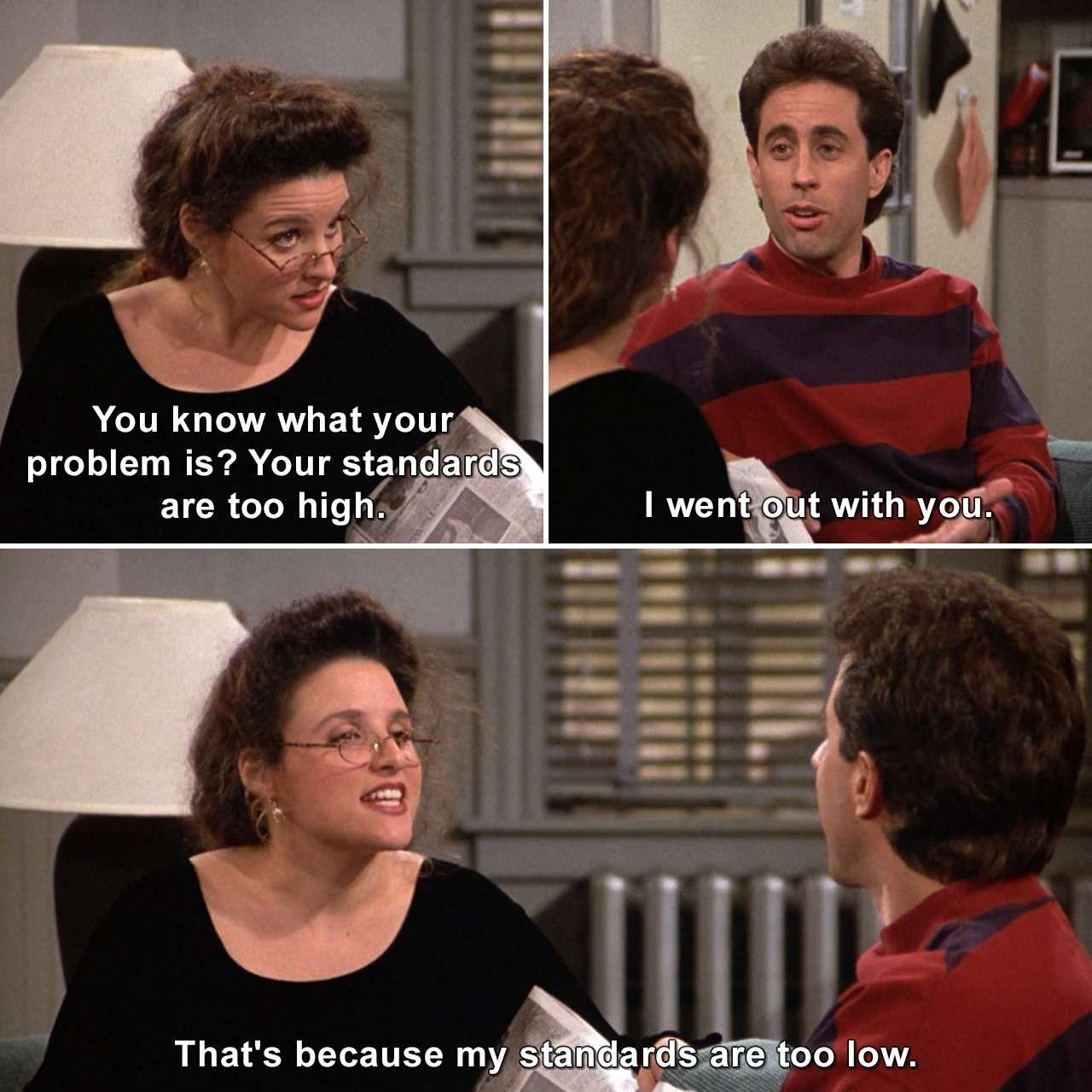 Your Standards Are Too High Elainebenes Jerryseinfeld Seinfeld Thefix Up Humor Lmao Lol Meme Memes Joke Jok Seinfeld Quotes Seinfeld Funny Seinfeld