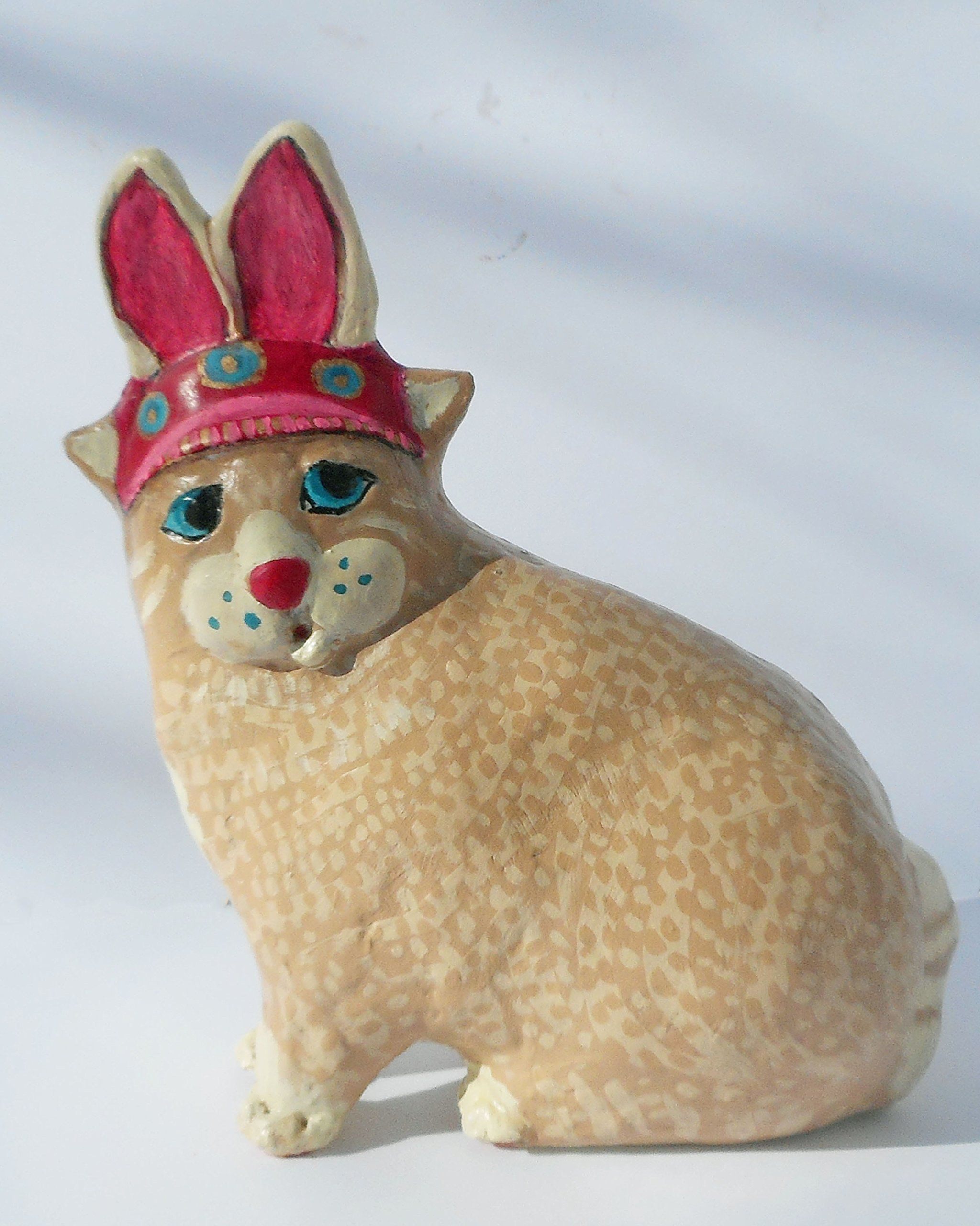 Missy the easter kitty ooak whimsical paper mache clay cat