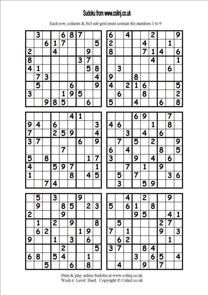 picture regarding Printable Sudoku 6 Per Page titled Cost-free sudoku printable 6 for each web site Clroom Diagram