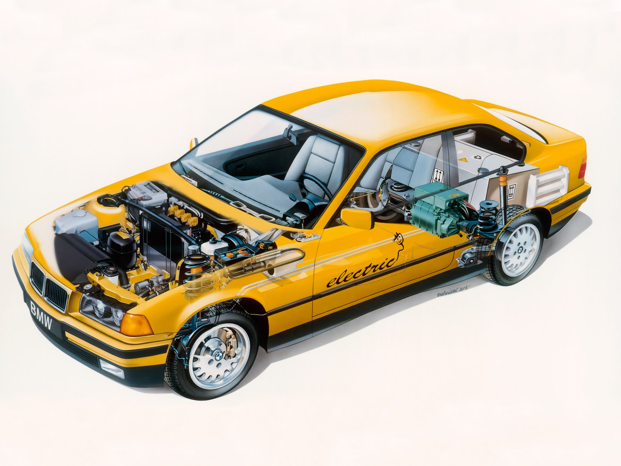 1995 BMW 3 Series Coupe Electro-Antrieb (E36)  - Illustration by Technical Art