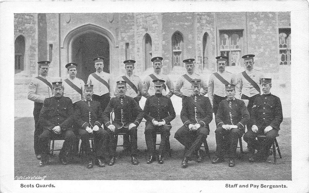Details About Postcard Military Scots Guards Staff And Pay Sergeants