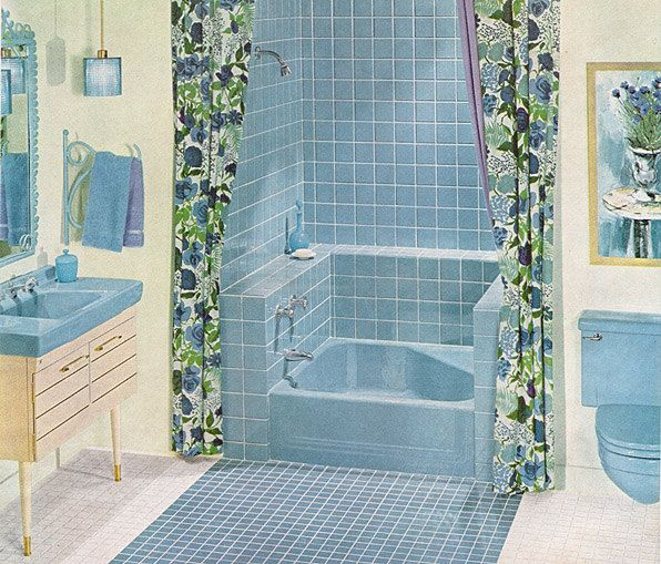1961 Ad Blue Bathroom Tile By American Olean Vintage Bath Ceramic - Blue-ceramic-bathroom-tile