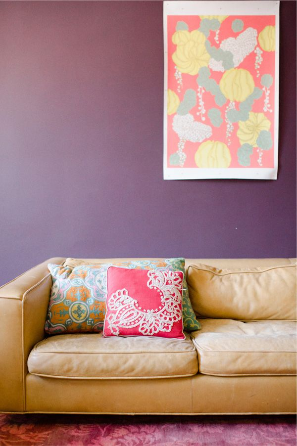Kim France Of Lucky Magazine And S A Certain Age Living Room Purple Walls Art Throw Pillows Color Photography By T Bailey