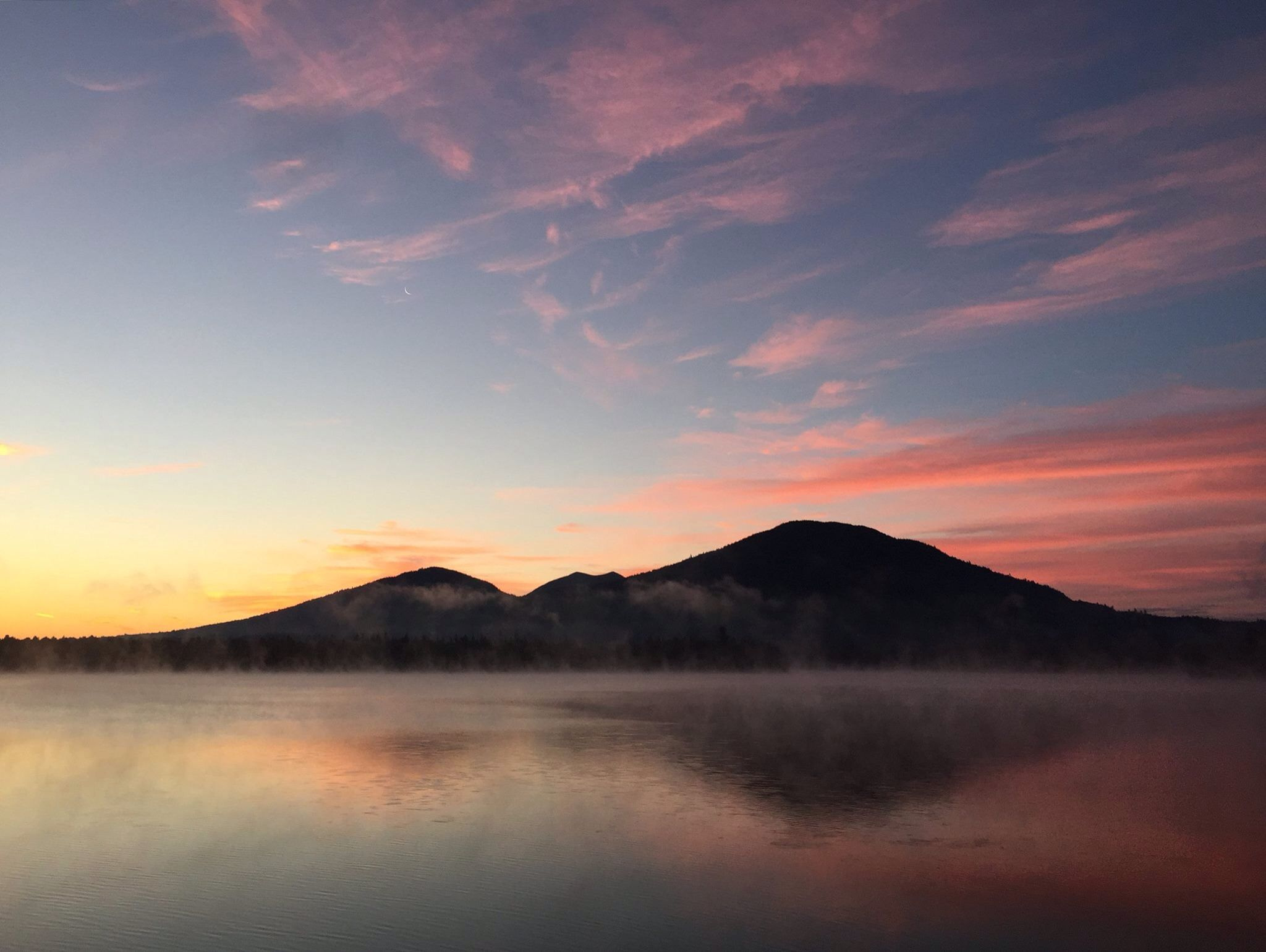Dawn Over The Southwest End Of The Bigelow Mountain Range Reflecting In Mist Covered Flagstaff Lake All As Seen From The Ro Eustis Maine Natural Landmarks Sunrise morning fog mountain range dawn
