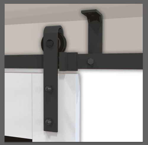 6668ft Ceiling Mount Sliding Barn Door Hardware Rustic Black