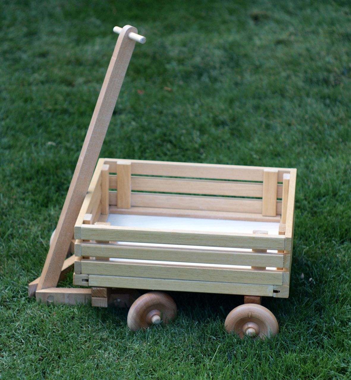 Last One Childrens Eco Friendly Toy Wooden Wagon With Wheels For