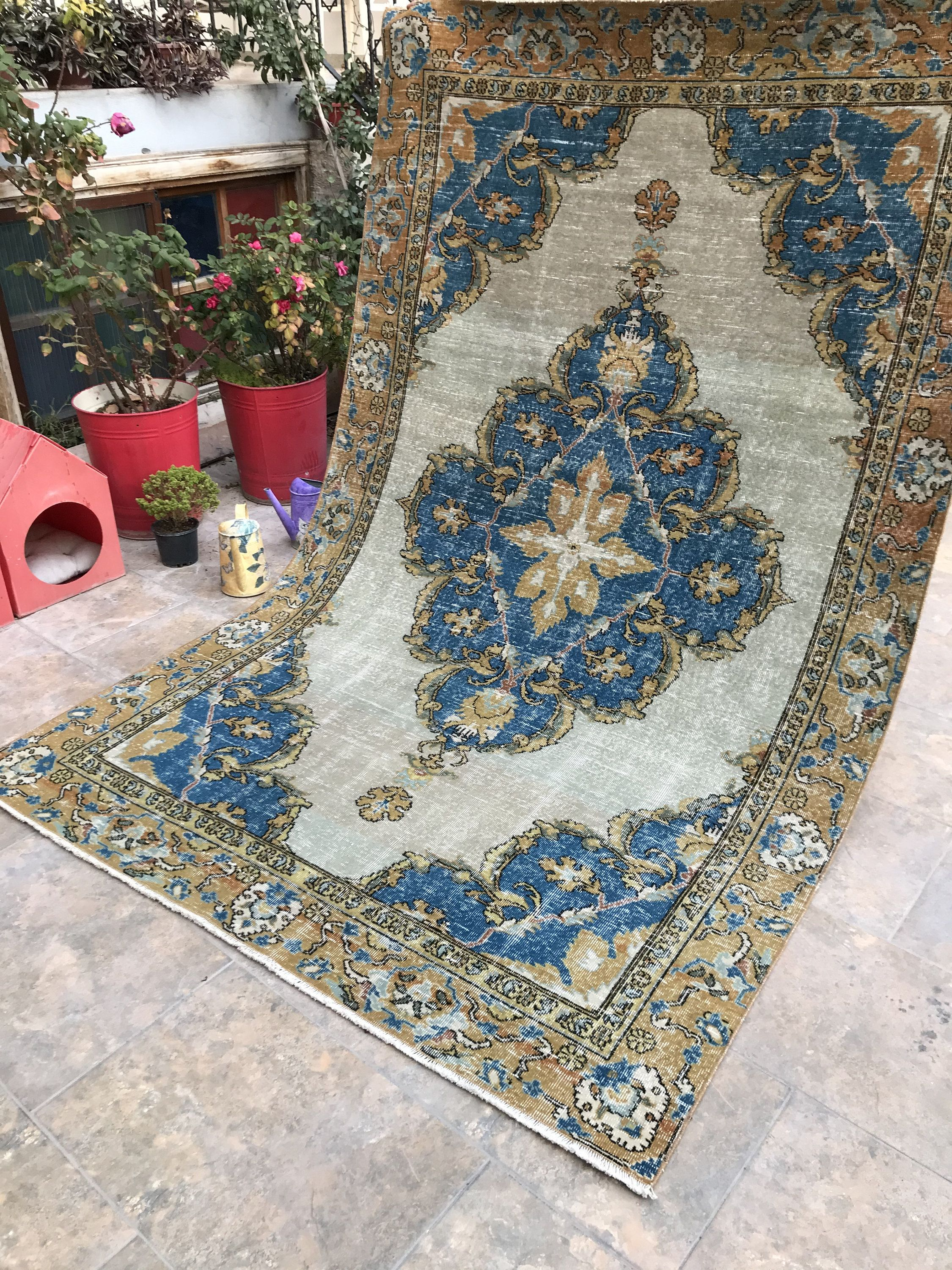 Antique Turkish Decorative Large Rug Gran And Blue Medallion Etsy In 2020 Blue Medallion Vintage Rugs Rugs
