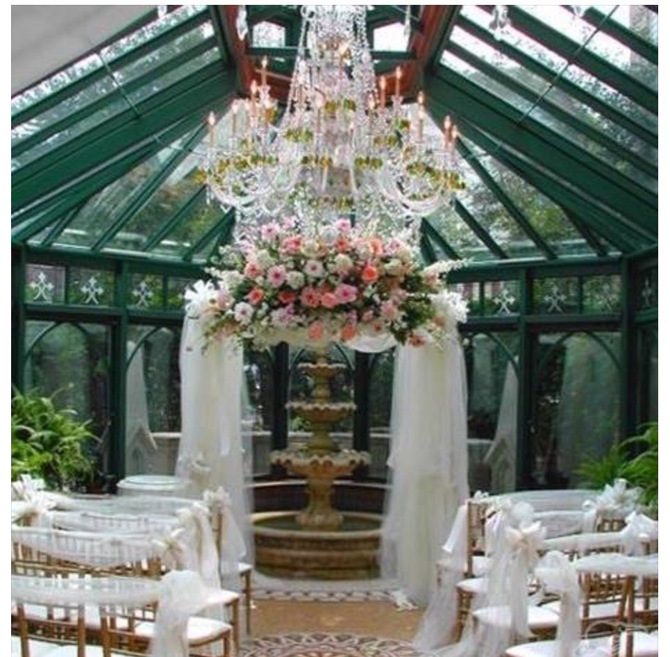 Wedding decorations tulle and lights  Pin by Anne Marie Morris on Wedding Items  Pinterest  Fountain